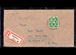 AM.&Britische-Zone, Eingeschriebener Fernbrief mit EF. Mi.-Nr. 68 II, mit AK-St.