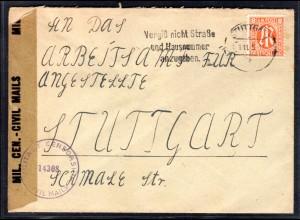 AM.&Britische-Zone, Ortsbrief mit EF. Mi.-Nr. 5, zensiert.