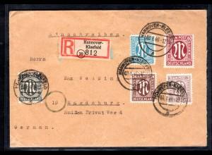 AM.&Britische-Zone, Eingeschriebener Fernbrief mit MiF. Mi.-Nr 26 aC, 33 bA ua.