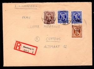 AM.&Britische-Zone, Eingeschriebener Fernbrief mit MiF. Mi.-Nr 22,27,28