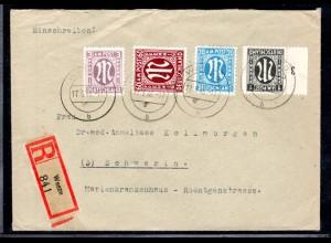 AM.&Britische-Zone, Eingeschriebener Fernbrief mit MiF. Mi.-Nr 33 ua