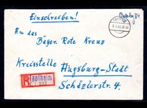 AM.&Britische-Zone, Eingeschriebener Gebühr-bezahlt-Brief von Tapfheim