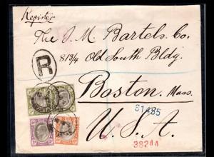 Südafrika, Eingeschriebener Ausland-Brief nach Boston