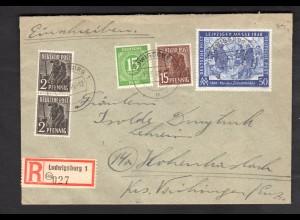 All. Besetz., Gemeinschafsausgab., R-Fern-Brief mit 10-fach-Fra. Mi.-Nr. 967 ua.