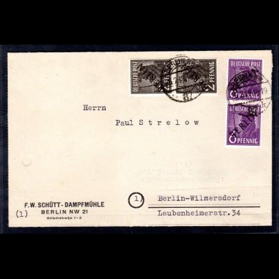 Berlin, Ortsbrief mit Mi.F. Mi.-Nr. 1 + 2