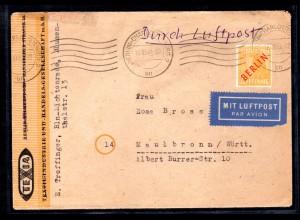 Berlin, Luftpost-Fernbrief mit EF. Mi.-Nr. 27