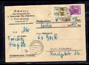 Berlin, Nachnahme-Ortsbrief mit Mi.F. Mi.-Nr. 22 + 38