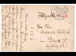 Marine-Schiffspost Nr. 53, als Feldpostkarte 08.07.16