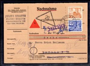 Berlin, Orts-Nachnahme-Karte mit MiF. Mi.-Nr. 43 + 51