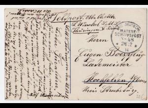 Marine-Schiffspost Nr. 48, als Feldpostkarte 28.12.14