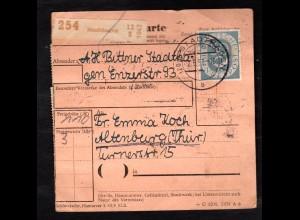 Bund. Paketkarte mit Mi.-Nr. 125 I, Befund Schlegel.