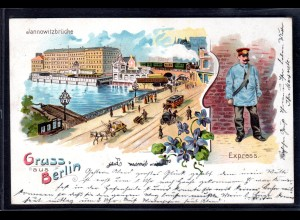 Lithokarte Gruss aus Berlin, Kronprinzliches Palais