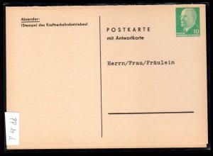 """DDR Privatganzsache mit Antwortteil """" Kraftverkehrsbetrieb"""""""