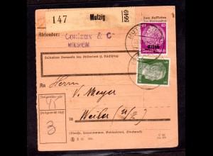 Dt. Besetzung Elsaß Paketkarte Mischfr. Elsaß/DR