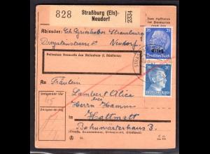 Elsaß, Paketkarte in Mischfrankatur Elsaß/DR