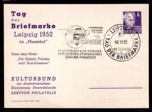 """DDR Privatganzsache """"Tag der Briefmarke Leipzig 1952"""""""