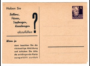"""DDR Privatganzsache """"Haben Sie, Ballons, Fässer, Topfwagen.....?"""""""