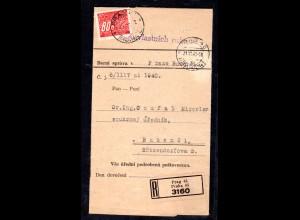 B&M Einschreib-Streifband, frankiert mit Portomarke Nr. 8