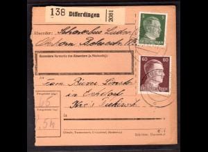 Dt. Besetzung Luxemburg Paketkarte Differdingen