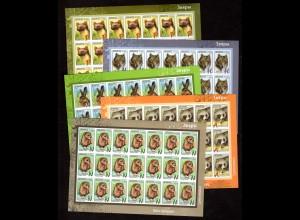 Weißrussland Mi.-Nr 1040-44 Freimarken: Wildtiere, postfrisch
