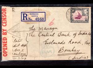 Zensurbrief Einschreiben von Uganda nach Indien, 1941