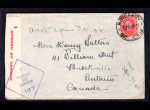 Zensurbrief von Queensland nach Canada, 1944