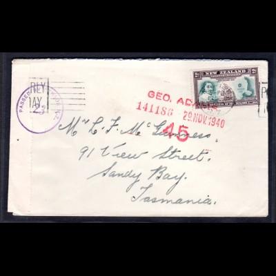 Zensurbrief von New Zealand nach Tasmanien, 1940