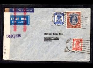 Zensurbrief von Indien nach Switzerland, 1914
