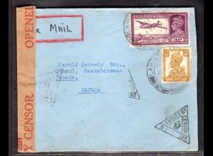 Zensurbrief von Indien nach Canada, 1941