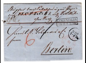Vorphila Paketbegleitbrief von Langensalza nach Berlin