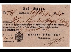 Vorphila Einlieferungsschein Mitweida 1833 (1838?)