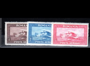 Rumänien, Mi.-Nr. 356-358 y, sauber entfalz, fast postfrisch.