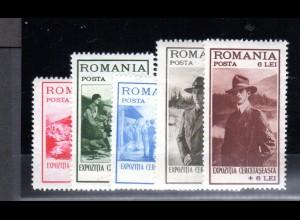 Rumänien, Mi.-Nr. 413-17, sauber entfalz, fast postfrisch.