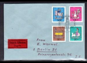 Berlin, Orts-Eilbote-Satzbrief Mi.-Nr. 348-51, mit Ak-St.