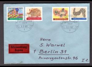Berlin, Orts-Eilbote-Satzbrief Mi.-Nr. 386-9, mit Ak-St.