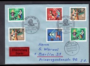 Berlin, Orts-Eilbote-Satzbrief Mi.-Nr. 418-21, mit Ak-St.