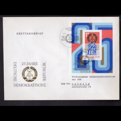 DDR, FDC. Block 41 - 25 Jahre DDR
