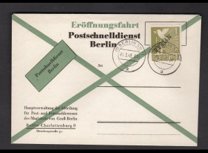 Berlin, amtl. FDC. zur Eröffnung des Postschnelldienstes mit Info-Blatt.