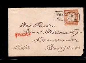 DR, Mi.-Nr. 21 EF., als Auslandbrief nach New York.