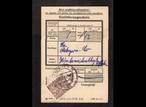 Berlin, Einlieferungsschein mit EF. Mi.-Nr. 48 von 1952
