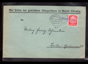 """B&M, Sudetenland, Fernbrief mit Notstempel """"Markt Türnau"""""""