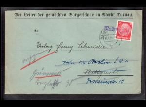 """B&M, Sudetenland, Fernbrief mit Notstempel """"Markt Türnau"""", weitergeleitet."""