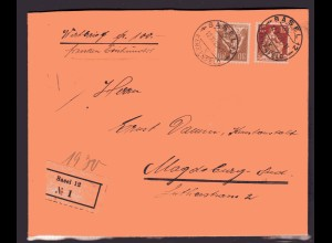Schweiz, Ausland-Wertbrief mit MiF. ua. Mi.-Nr. 109 x
