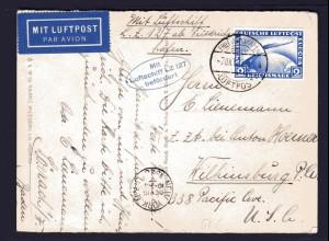 Zeppelinkarte USA-Fahrt 1928, Sieger 21 A