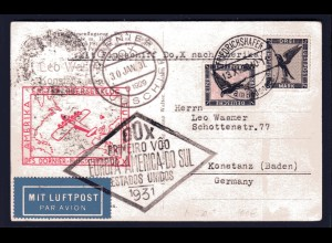 DOX-Karte, Erstflug Europa-Amerika 1931