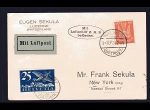 Zeppelinkarte, ZR 3, Zuleitung Schweiz, Sieger 20 A