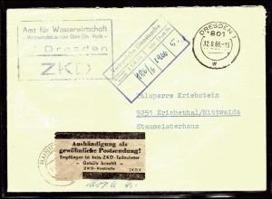 """ZKD-Brief """"Aushändigung als gewöhnliche Postsendung"""" graue Zettel."""