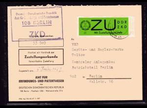 ZKD-Brief EF. Mi.-Nr. 2 x