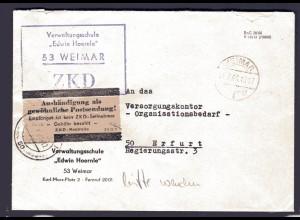 """ZKD-Brief """"Aushandigung als gewönliche Postsendung"""" Grau-rosa-Zettel."""