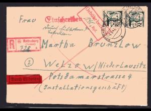 Fr.-Zone, Würtemberg, R-Eilbote-Brief mit 2x Mi.-Nr. 4 + Gebühr bezahlt.